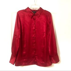 Lane Bryant Red Long Sleeve Button Down Blouse